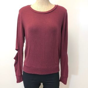 LNA open elbow pullover burgundy